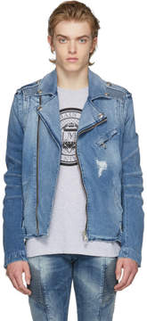 Pierre Balmain Blue Denim Biker Jacket
