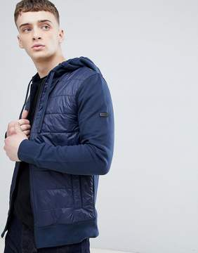 Barbour International Baffle Hooded Sweat Jacket in Navy