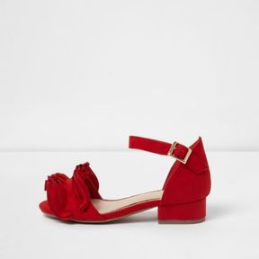 River Island Girls red ruffle block heel sandals