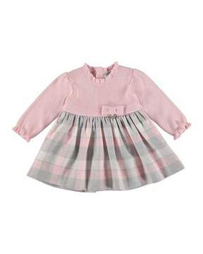 Mayoral Knit Plaid Dress, Rose, Size 6-36 Months