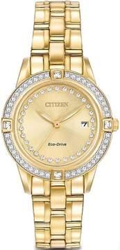 Citizen FE1152-52P Women's Silhouette Swarovski Crystal Accented Bezel Gold Tone Dial Watch
