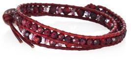 Chan Luu Red Tiger's Eye, Garnet, Crystal & Leather Beaded Double-Wrap Bracelet