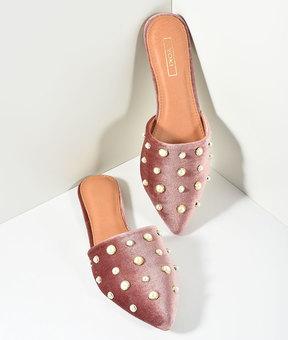 Unique Vintage Blush Pink Velvet & Ivory Pearls Mule Slide Flats Shoes