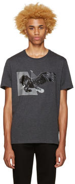 Neil Barrett Grey Horse Eagle Hybrid T-Shirt