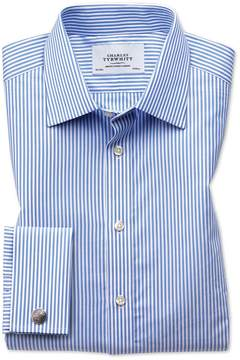 Charles Tyrwhitt Slim Fit Bengal Stripe Sky Blue Cotton Dress Shirt French Cuff Size 15.5/35