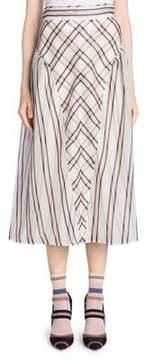 Fendi Stripe Midi Silk Skirt