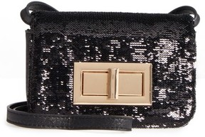 Street Level Sequin Flap Crossbody Bag - Black
