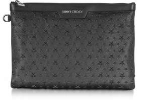 Jimmy Choo Stars Embossed Grainy Leather Derek Medium Clutch