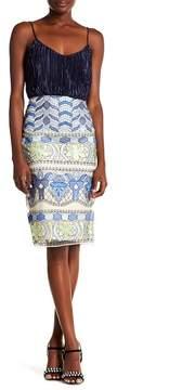 ECI Embroidered Print Skirt