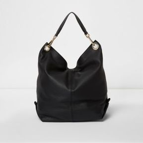 River Island Womens Black leather slouch convertible backpack