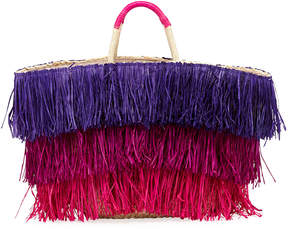 Neiman Marcus Tiered Straw Tote Bag