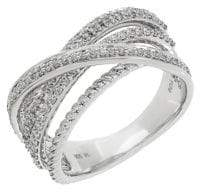 Lord & Taylor Diamond and Sterling Silver Crossover Ring