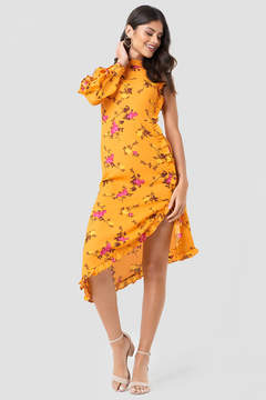 NA-KD Na Kd One Sleeve High Neck Frill Dress
