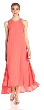 Astr Asymmetrical Lace Up Maxi Dress.