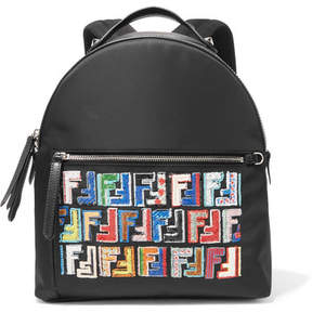 Fendi Sequined Shell, Leather And Mesh Backpack - Black