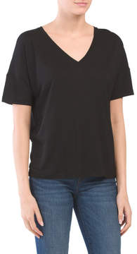 Short Sleeve Drop Shoulder V-neck Tee