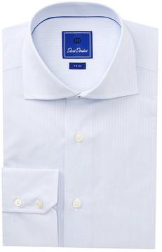 David Donahue Tonal Stripe Trim Fit Dress Shirt