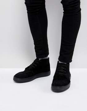Asos Lace Up Boots In Black Suede