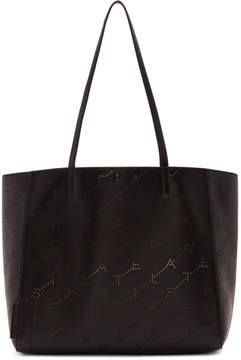 Stella McCartney Black Small Perforated Logo Tote