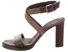 Brunello Cucinelli Monili-Trimmed Leather Sandals