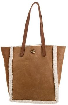 Tory Burch Shearling Tote Bag - BROWN - STYLE