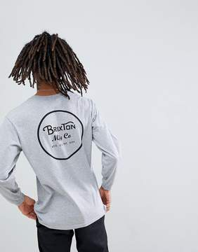 Brixton Wheeler Long Sleeve T-Shirt With Back Print In Gray