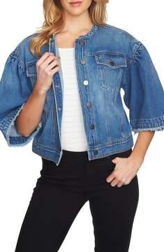 1 STATE 1.STATE Collarless Wide Sleeve Denim Jacket