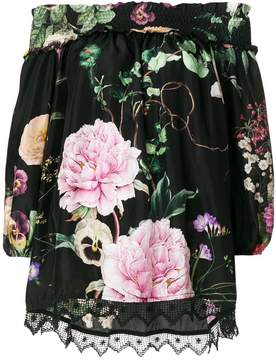 P.A.R.O.S.H. floral print off-the-shoulder blouse