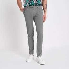 River Island Mens Grey super skinny suit pants