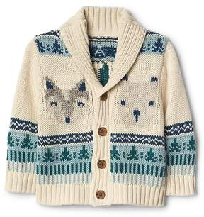 Gap Animal fair isle shawl cardigan