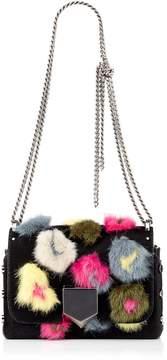 Jimmy Choo LOCKETT PETITE Cerise Mix Pony Shoulder Bag with Leopard Print mink Embroidery