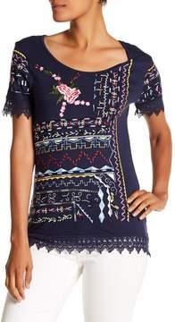 Desigual Crochet Embroidered Short Sleeve Shirt