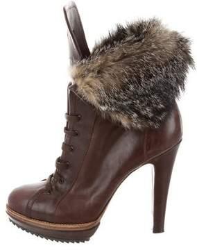 Etro Fur Lace-Tie Boots