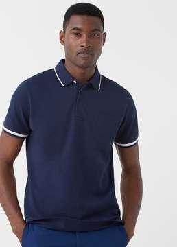 Mango Outlet Contrast trim piqué polo shirt