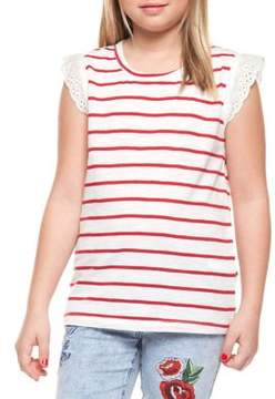 Dex Girl's Striped Cap-Sleeve Tee