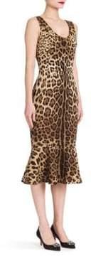 Dolce & Gabbana Leopard Stretch-Silk Flutter-Hem Dress