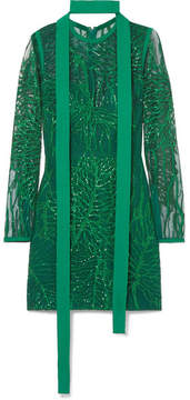 Elie Saab Embellished Tulle Mini Dress - Green