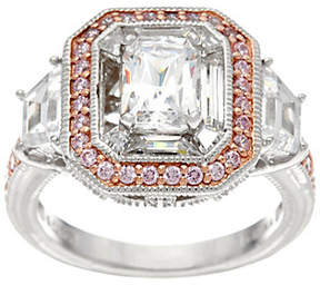 Diamonique Emerald Cut Ring w/ Pink Halo, Platinum Clad