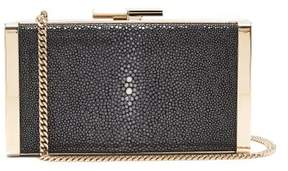 Jimmy Choo J Box Stingray Leather Clutch - Womens - Black White