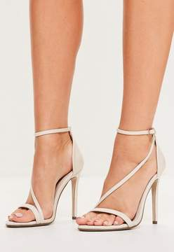 Missguided Nude Asymmetric Strappy Sandals