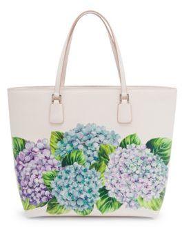Dolce & Gabbana Hydrangea-Print Leather Tote - CREAM - STYLE