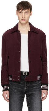 Saint Laurent Burgundy Corduroy Bomber Jacket