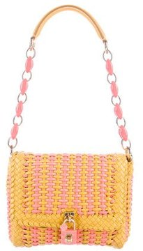 Dolce & Gabbana Woven Leather Shoulder Bag w/ Tags - PINK - STYLE