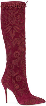 Oscar de la Renta floral knee boots