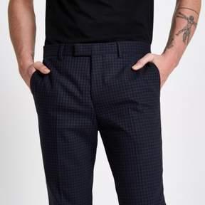 River Island Mens Blue check skinny fit suit pants