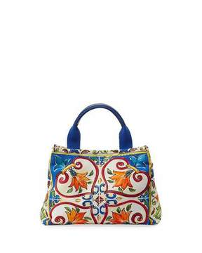 Dolce & Gabbana Girls' Maiolica Print Top Handle Bag - MULTI - STYLE