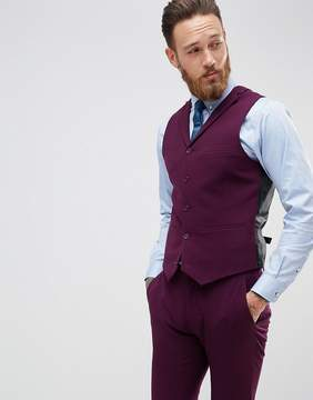 Asos Super Skinny Fit Suit Vest In Blackcurrant