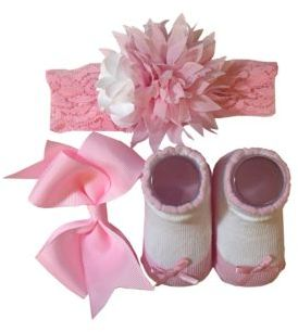 Little Me Baby Girls Floral Headwrap, Bow and Socks Set