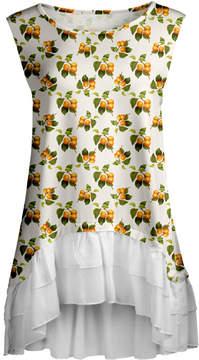Lily White & Orange Abstract Ruffle-Hem Sleeveless Tunic - Women & Plus