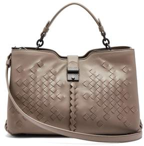 Bottega Veneta Napoli Medium Intrecciato Leather Bag - Womens - Grey